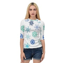 Snowflakes Blue Green Star Quarter Sleeve Raglan Tee by Mariart