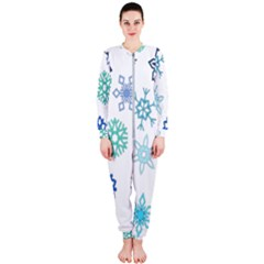 Snowflakes Blue Green Star Onepiece Jumpsuit (ladies)