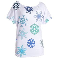 Snowflakes Blue Green Star Women s Oversized Tee by Mariart