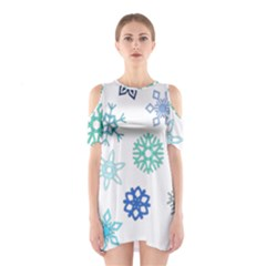 Snowflakes Blue Green Star Shoulder Cutout One Piece