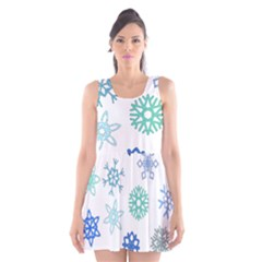 Snowflakes Blue Green Star Scoop Neck Skater Dress
