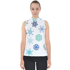 Snowflakes Blue Green Star Shell Top by Mariart