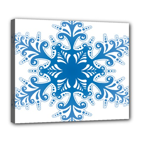 Snowflakes Blue Flower Deluxe Canvas 24  X 20   by Mariart