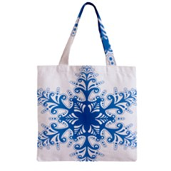 Snowflakes Blue Flower Zipper Grocery Tote Bag by Mariart