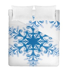 Snowflakes Blue Flower Duvet Cover Double Side (full/ Double Size)