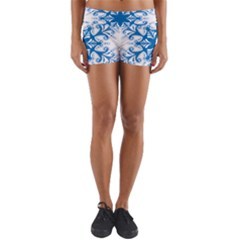 Snowflakes Blue Flower Yoga Shorts by Mariart