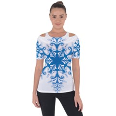 Snowflakes Blue Flower Short Sleeve Top by Mariart
