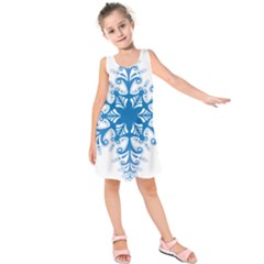 Snowflakes Blue Flower Kids  Sleeveless Dress by Mariart