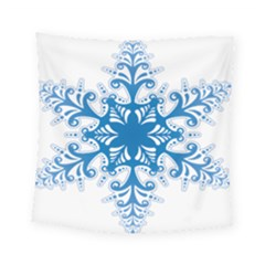 Snowflakes Blue Flower Square Tapestry (small) by Mariart
