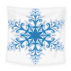 Snowflakes Blue Flower Square Tapestry (large)