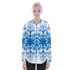 Snowflakes Blue Flower Womens Long Sleeve Shirt by Mariart