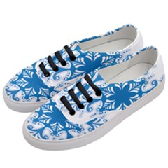 Snowflakes Blue Flower Women s Classic Low Top Sneakers by Mariart