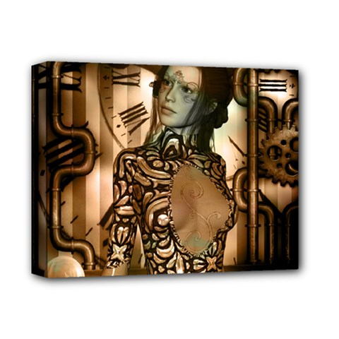 Steampunk, Steampunk Women With Clocks And Gears Deluxe Canvas 14  X 11  by FantasyWorld7