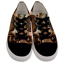 Steampunk, Steampunk Women With Clocks And Gears Men s Low Top Canvas Sneakers