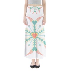 Snowflakes Heart Love Valentine Angle Pink Blue Sexy Full Length Maxi Skirt