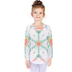 Snowflakes Heart Love Valentine Angle Pink Blue Sexy Kids  Long Sleeve Tee by Mariart
