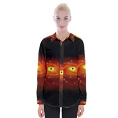 Space Galaxy Black Sun Womens Long Sleeve Shirt by Mariart
