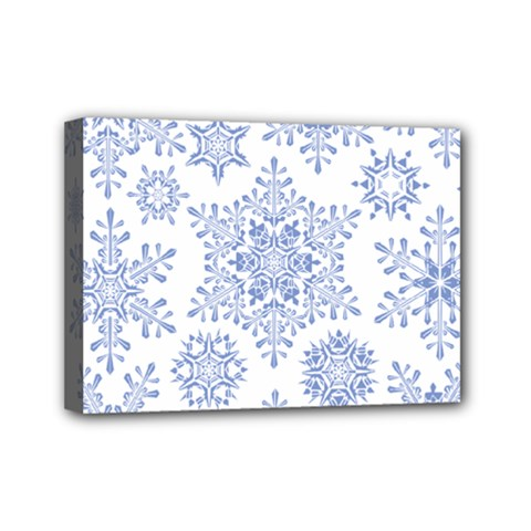 Snowflakes Blue White Cool Mini Canvas 7  X 5  by Mariart