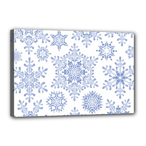 Snowflakes Blue White Cool Canvas 18  X 12  by Mariart