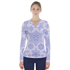 Snowflakes Blue White Cool V-neck Long Sleeve Top
