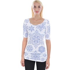 Snowflakes Blue White Cool Wide Neckline Tee by Mariart