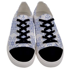 Snowflakes Blue White Cool Men s Low Top Canvas Sneakers