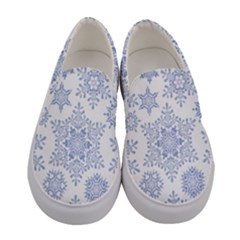 Snowflakes Blue White Cool Women s Canvas Slip Ons