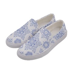 Snowflakes Blue White Cool Women s Canvas Slip Ons by Mariart