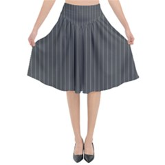 Space Line Grey Black Flared Midi Skirt by Mariart
