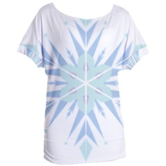 Snowflakes Star Blue Triangle Women s Oversized Tee by Mariart