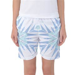 Snowflakes Star Blue Triangle Women s Basketball Shorts by Mariart