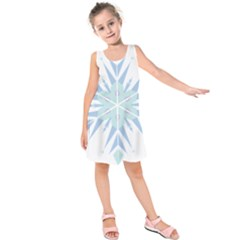 Snowflakes Star Blue Triangle Kids  Sleeveless Dress by Mariart