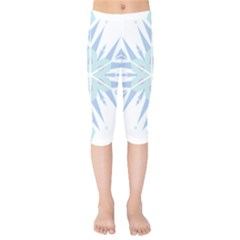 Snowflakes Star Blue Triangle Kids  Capri Leggings