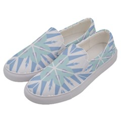 Snowflakes Star Blue Triangle Men s Canvas Slip Ons by Mariart