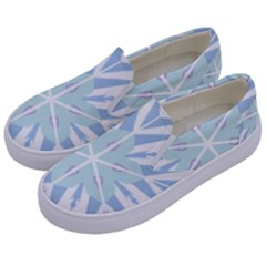 Snowflakes Star Blue Triangle Kids  Canvas Slip Ons by Mariart