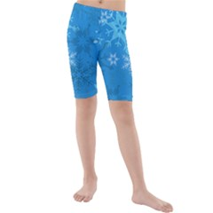 Snowflakes Cool Blue Star Kids  Mid Length Swim Shorts