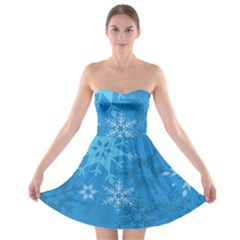 Snowflakes Cool Blue Star Strapless Bra Top Dress by Mariart