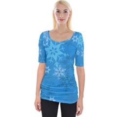 Snowflakes Cool Blue Star Wide Neckline Tee by Mariart