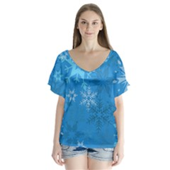 Snowflakes Cool Blue Star V Neck Flutter Sleeve Top