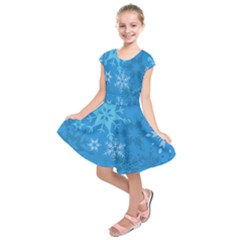 Snowflakes Cool Blue Star Kids  Short Sleeve Dress