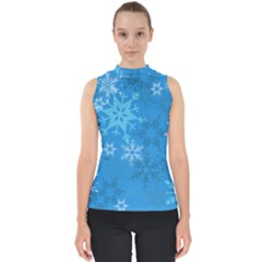 Snowflakes Cool Blue Star Shell Top by Mariart