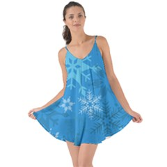 Snowflakes Cool Blue Star Love The Sun Cover Up