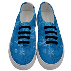 Snowflakes Cool Blue Star Men s Classic Low Top Sneakers