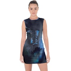 Space Star Blue Sky Lace Up Front Bodycon Dress