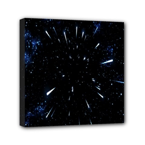 Space Warp Speed Hyperspace Through Starfield Nebula Space Star Line Light Hole Mini Canvas 6  X 6