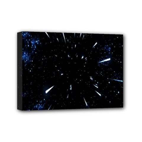 Space Warp Speed Hyperspace Through Starfield Nebula Space Star Line Light Hole Mini Canvas 7  X 5  by Mariart