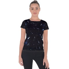 Space Warp Speed Hyperspace Through Starfield Nebula Space Star Line Light Hole Short Sleeve Sports Top  by Mariart