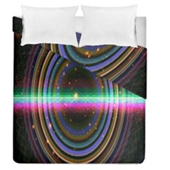 Spectrum Space Line Rainbow Hole Duvet Cover Double Side (queen Size) by Mariart