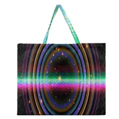 Spectrum Space Line Rainbow Hole Zipper Large Tote Bag by Mariart