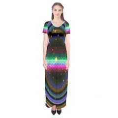 Spectrum Space Line Rainbow Hole Short Sleeve Maxi Dress by Mariart